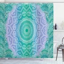 "Ambesonne Ethnic Shower Curtain, Traditional Mystical Oriental Mandala Yantra Geometry Pattern, Cloth Fabric Bathroom Decor Set with Hooks, 75"" Long, Purple Green"