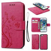 iPhone 7 Case, iPhone 8 Wallet Case PU Embossed Butterfly Flower Leather Detachable Wallet with Card Holder and ID Slot Cover for iPhone 7 & iPhone 8 4.7 inch Hot Pink