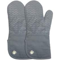 Silicone Groment Oven Mitts with Heat Resistant Non-Slip Set of 2, Cotton Quilting Lining, Oven Gloves and Pot Holders Kitchen Set for BBQ Cooking Baking, Grilling, Barbecue, Machine Washable Grey