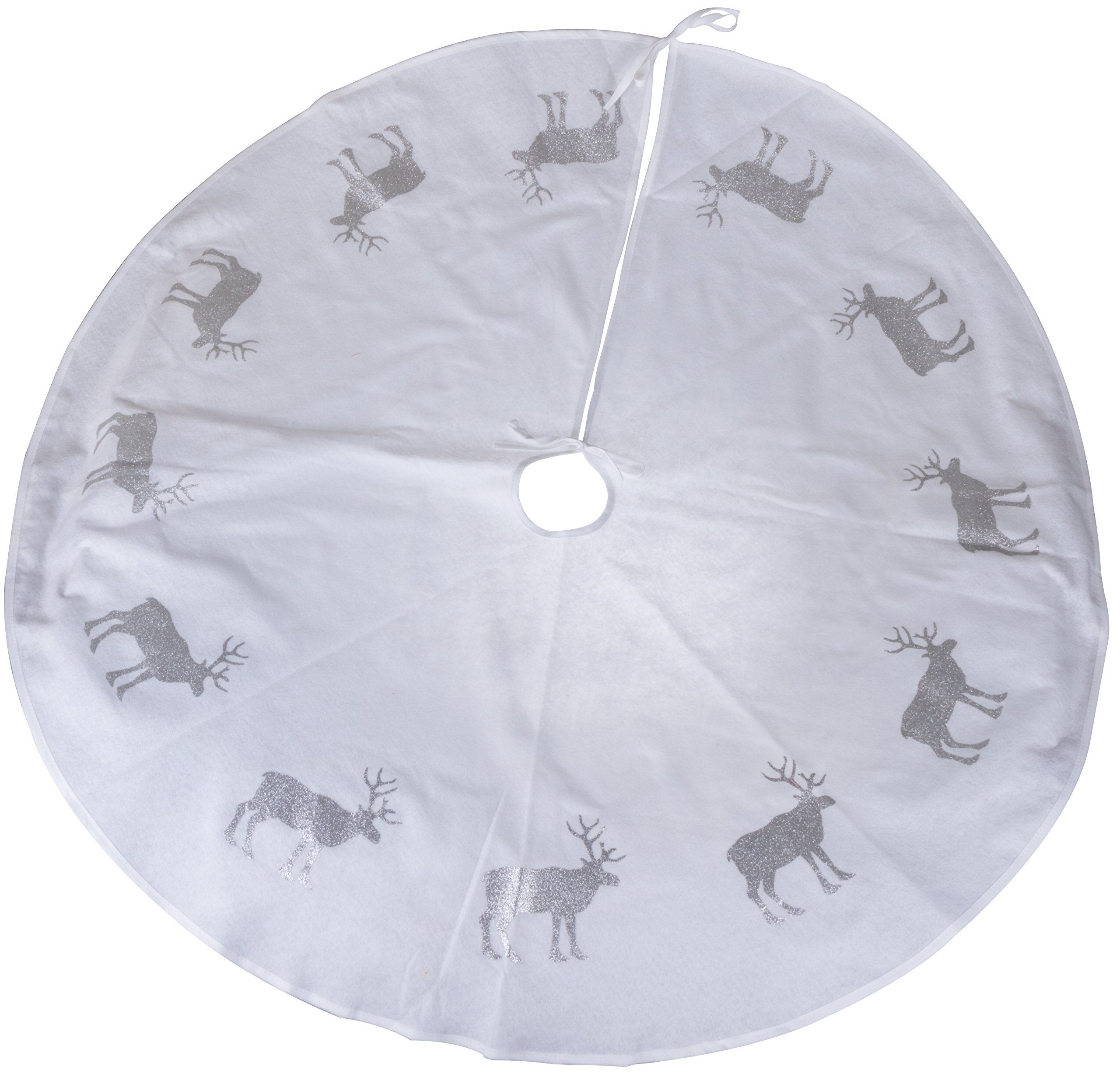 "Clever Creations White Reindeer Christmas Tree Skirt Silver Glitter Reindeer | Traditional Classic Festive Holiday Decor | Catches Falling Needles and Sap | 47"" Diameter"