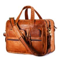 BAIGIO Men's Genuine Leather Briefcase 15.6 Inches Laptop Messenger Bag Vintage Business Tote (Tan)