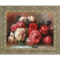 """La Pastiche Discarded Roses by Pierre Auguste Renoir Framed Oil Painting, 25.5"""" x 21.5"""", Multi"""