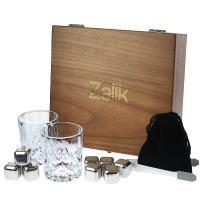 Whiskey Stones Gift Set – Set Of 8 Stainless Steel Beverage Chilling Rocks Scotch Bourbon Glasses Ice Cubes Includes 2 Whiskey Glasses, Velvet Bag, Tongs With Elegant Wooden Gift Box - For Whiskey