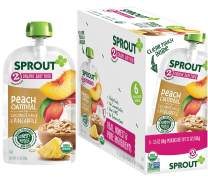 Sprout Organic Stage 2 Baby Food Pouches, Peach Oatmeal w/ Coconut Milk & Pineapple, 3.5 Ounce (Pack of 6)