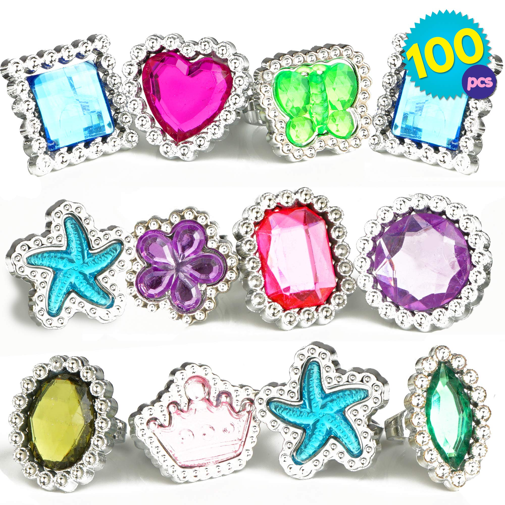 THE TWIDDLERS 100 Pcs Bulk Ring Toys   Colourful Rhinestone Gems Rings   10 Assorted Designs Jewellery Set   Dress Up Princess Accessories   Plastic Rings for Kids Girl   Birthday Party Party   Goody