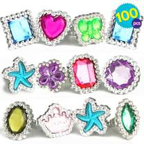 THE TWIDDLERS 100 Pcs Bulk Ring Toys | Colourful Rhinestone Gems Rings | 10 Assorted Designs Jewellery Set | Dress Up Princess Accessories | Plastic Rings for Kids Girl | Birthday Party Party | Goody