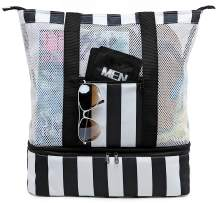 Beach Tote Bag with Detachable Cooler Compartment Insulated Picnic Cooler Bag Pool Bag for Women Men Travel Shoulder Tote Bag (Black)