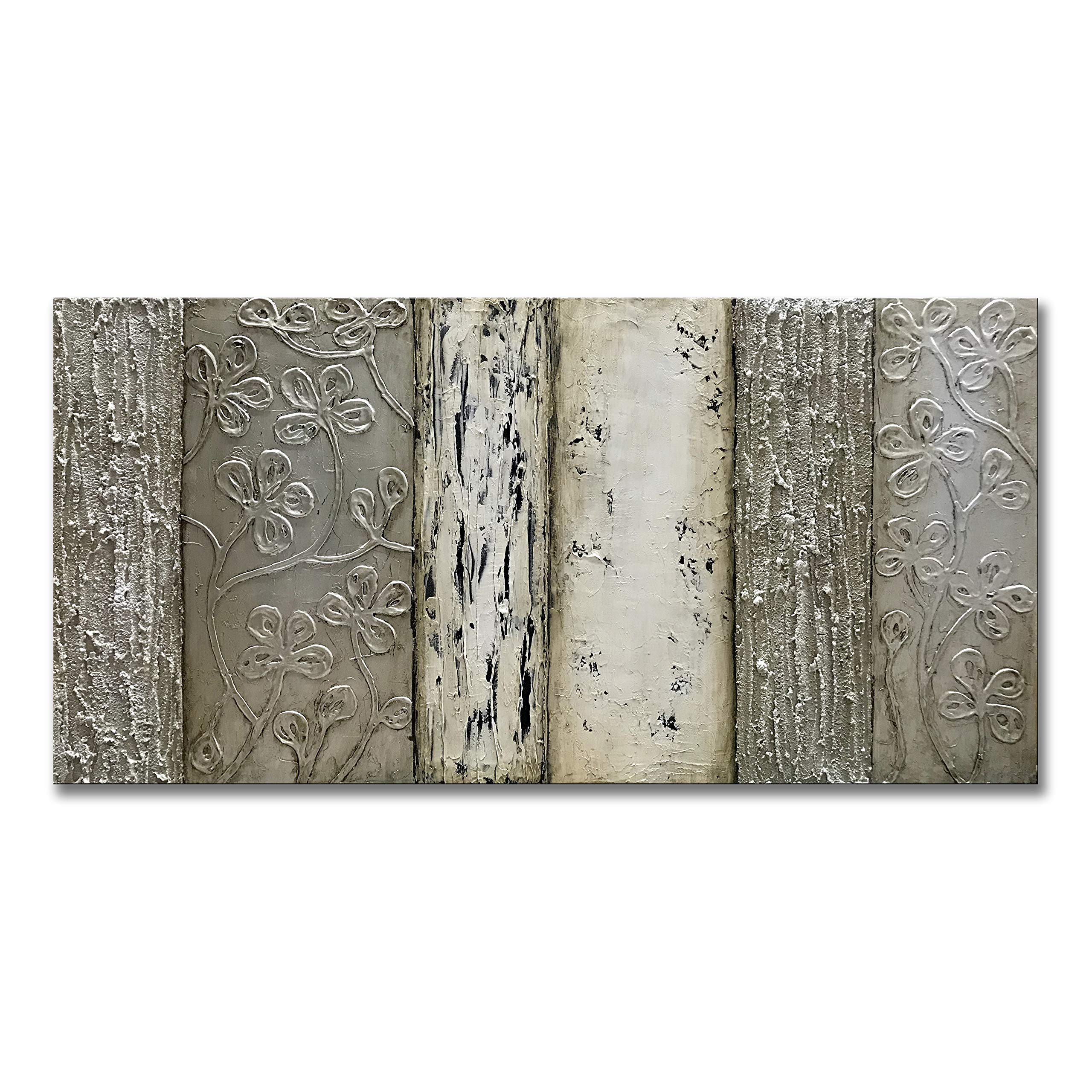 Zoinart 100% Hand-Painted 24x48inch Abstract Oil Paintings on Canvas Wall Art Grey Plum Blossom Unique Thick Texture Rough Surface Painting Imitation Old Handicrafts Modern Wall Decor Home Decorations