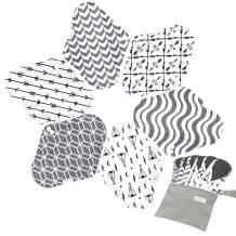 7pcs Set 1 pc Bonus Free Mini Wet Bag +6pcs Absorbent Reusable Sanitary Pads/Washable Bamboo Cloth Menstrual Pads (S,Grey)