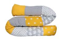 "Snake Pillow Bumper by ULLENBOOM | Elephant/Stars/Checkered | Toddler Bed/Cot | 79"" Long - Unisex Yellow/Grey"