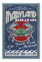 Maryland - Blue Crabs Vintage Sign (Premium 1000 Piece Jigsaw Puzzle for Adults, 20x30, Made in USA!)