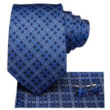 Hi-Tie Silk Mens Tie Extra Long Necktie Woven Pocket Suqare Cufflinks