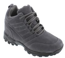 CALTO Men's Invisible Height Increasing Elevator Shoes - Grey Suede Lace-up Hiking Boots - 4 Inches Taller - H0032