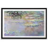 Monet Wall Art Collection Water Lilies, 1903 01 by Claude Monet Fine Giclee Prints Wall Art in Premium Quality Framed Ready to Hang 28X48, Black
