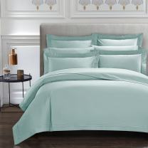 CASA BOLAJ DESIGNED TO DREAM Triomphe Collection 3 Pieces Baby Blue Color Queen Size Duvet Cover Set 100% Egyptian Cotton Sateen 400 Thread Count Luxury Handcraft(Baby Blue,Queen)