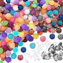 200 Pieces 20 Colors Druzy Resin Cabochons Faux Druzy Cabochons Flat Back Dome Cabochons with 20 Pieces Stainless Steel Stud Earring for Jewelry Making, DIY Craft (Silver Stud Earring, 12 mm)