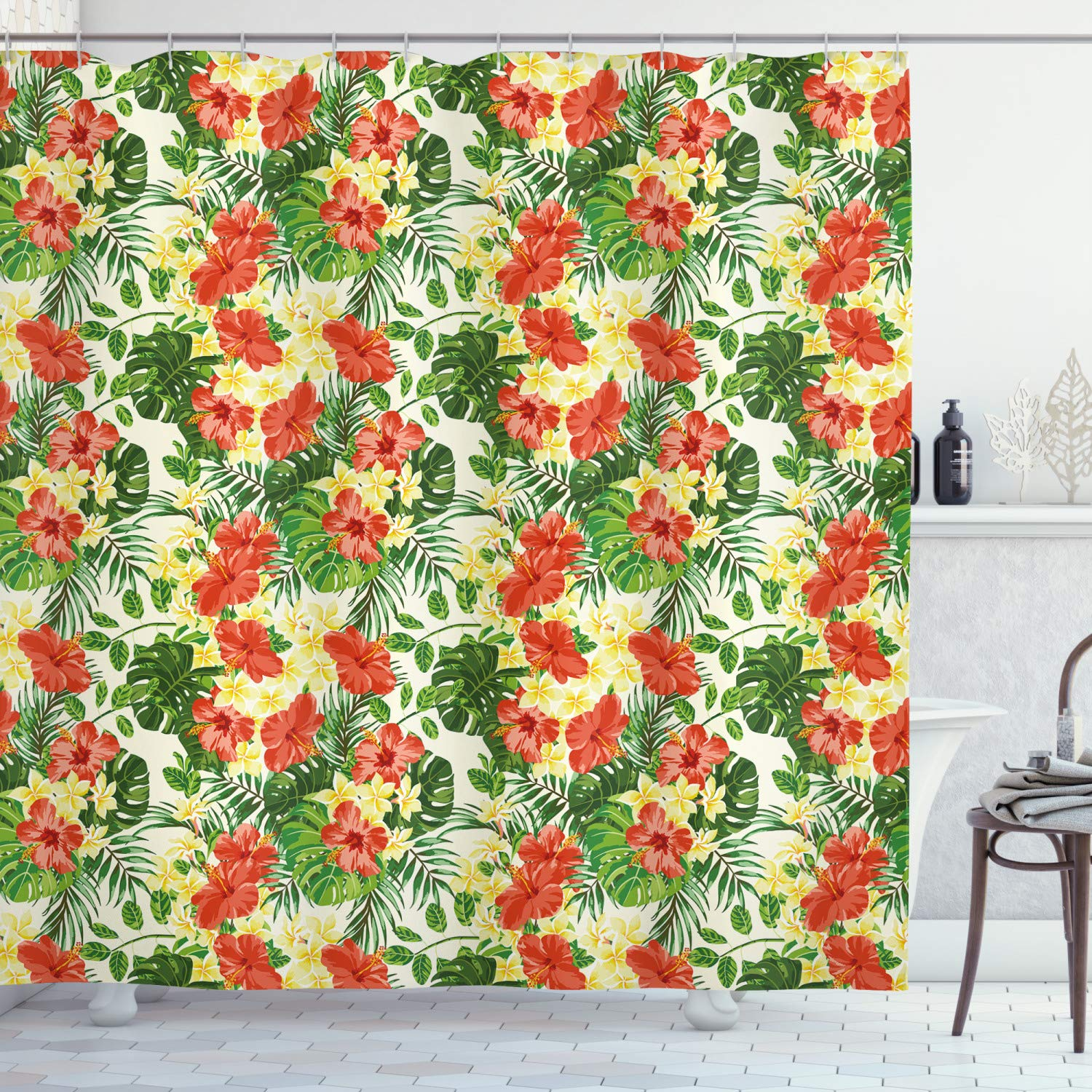 """Ambesonne Tropical Shower Curtain, Exotic Pattern with Plumeria Hibiscus Monstera Palm Flowers and Leaves, Cloth Fabric Bathroom Decor Set with Hooks, 84"""" Long Extra, Red Yellow"""