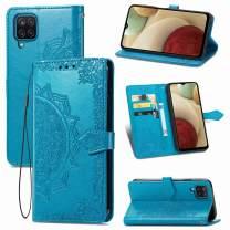 Urspasol for Samsung Galaxy A12 Case Wallet Mandragora Folio Flip Stand Credit Card Slot Kickstand Magnetic Closure Cover Wrist Strap (Blue)