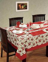 ShalinIndia Colorful Small Rectangular Outdoor Tablecloth Cotton Spring 60 X 84 Inches, Maroon Border