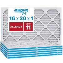 Aerostar Allergen & Pet Dander 16x20x1 MERV 11 Pleated Air Filter, Made in the USA, 6-Pack