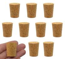 10PK Cork Stoppers, Size #10-20mm Bottom, 25mm Top, 31mm Length - Tapered Shape, Natural Bark Material - Great for Household & Laboratory Use - Eisco Labs