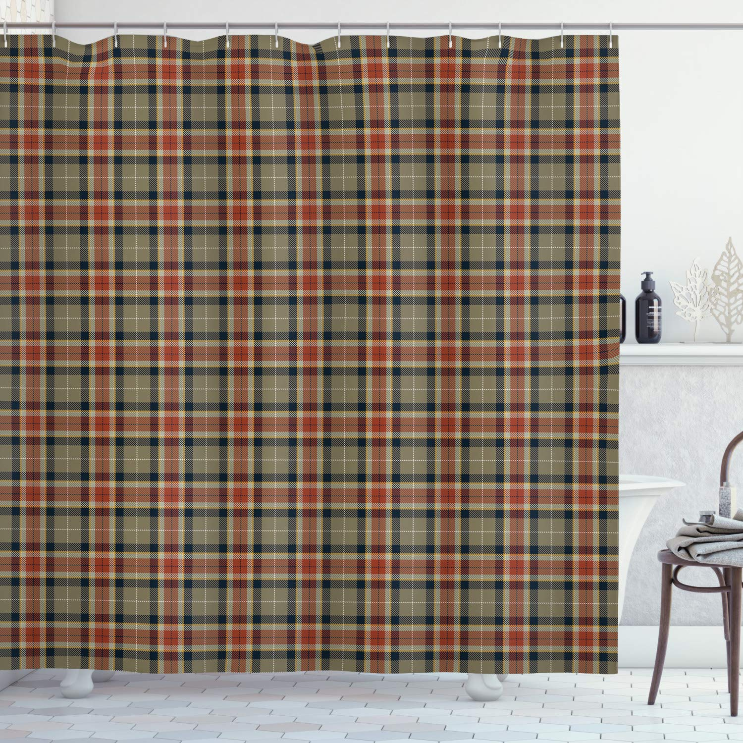 """Ambesonne Tartan Shower Curtain, Repeating Geometric Elements Squares and Diagonal Lines Traditional, Cloth Fabric Bathroom Decor Set with Hooks, 75"""" Long, Blue Brown"""