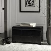 Safavieh Hudson Collection Williamsburg Black Leather Small Storage Bench