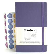 """Kelkaa Dotted Bullet Notebook– Dot Grid Hardcover Journal, Classic Premium FSC Certified Notebook w/ 100gsm Thick Paper, Fine Faux Leather, Inner Pocket, Stickers, A5 (5""""x8.25"""") 196 Pages - Purple"""