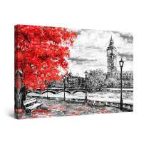 """Startonight Canvas Wall Art Abstract - Red Tree and Big Ben London Painting - Large Artwork Print for Living Room 32"""" x 48"""""""