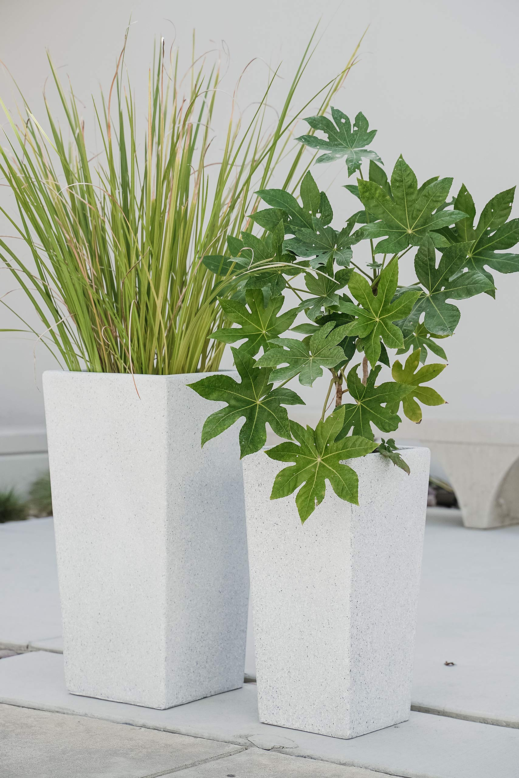 XBrand Set of 2 Different Sizes Modern Nested Tall Square Concrete Planter, 29 Inch & 24 Inch, Grey