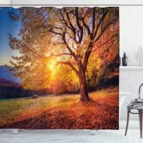 "Ambesonne Fall Tree Shower Curtain, Big Majestic Autumn Tree Shedding Faded Leaves on The Hill Slop Seasonal Landscape, Cloth Fabric Bathroom Decor Set with Hooks, 75"" Long, Orange Blue"