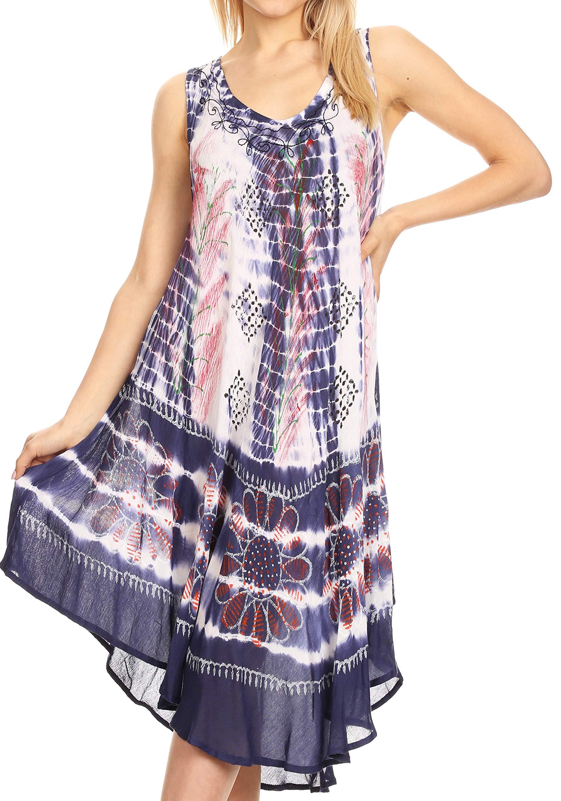 Sakkas Tina Women's Casual Summer Loose Sleeveless Tank Midi Dress Cover-up