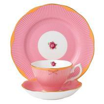 "Royal Albert Candy 3 Piece Teacup, Saucer and Plate Set, 8"", Sweet Stripe"