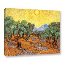 ArtWall Vincent Vangogh's Olive Trees with Yellow Skies and Sun, Gallery Wrapped Canvas, 18 by 24-Inch