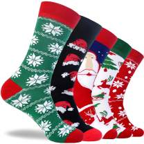 Christmas Socks Mens Funny Colorful Pattern Combed Cotton Festival Dress Sock Winter Pack of 5