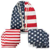 TOYSHARING Cornhole Bags Real Corn Filled Corn Hole Bean Bags American Flag Corn Hole Bags Set of 8 Regulation Cornhole Bean Bags Patriotic Duck Cloth Competition Corn Holes Bean Bags with Tote Bag