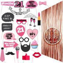 21st BIRTHDAY Photo Props | 21 Birthday Party Supplies | 21 Photo Booth | Finally Legal 21 | Backdrop Props or Photos 21st BDay Decorations | Party Ideas Decor 21st Rose gold Photo Props Real glitter