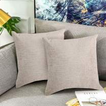 IOMOR Throw Pillow Pack of 2, Decorative Square Pillow Soft Solid Cushion for Sofa Bedroom Car 16x16 Inch, Camel