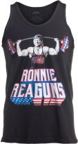 Ann Arbor T-shirt Co. Ronnie ReaGUNS | Funny Ronald Reagan Weight Lifting Workout Merica USA Tank Top