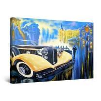 "Startonight Canvas Wall Art Abstract - Monaco Casino Retro Yellow Car Painting - Large Artwork Print for Living Room 32"" x 48"""