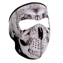 Zanheadgear Neoprene Full Face Mask, Black and White Skull Face, Reflective
