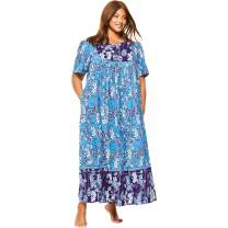 Only Necessities Women's Plus Size Mixed Print Long Lounger