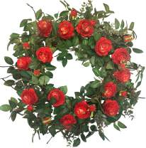Huashen Artificial Large Cabbage Rose Wreath Flame Red & Burgundy Blossom Flower Ivy Spring Summer Wreath on Grapevine Base for Front Door, Wall, Wedding, Home Decor 24inch