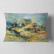 Designart CU6009-12-20 Landscape' Abstract Throw Cushion Pillow Cover for Living Room, Sofa, 12 in. x 20 in. , Hypoallergenic Pillow Insert + Cushion Cover Printed on Both Side
