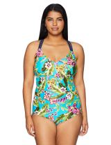 Amazon Brand - Coastal Blue Women's Plus Size One Piece Swimsuit