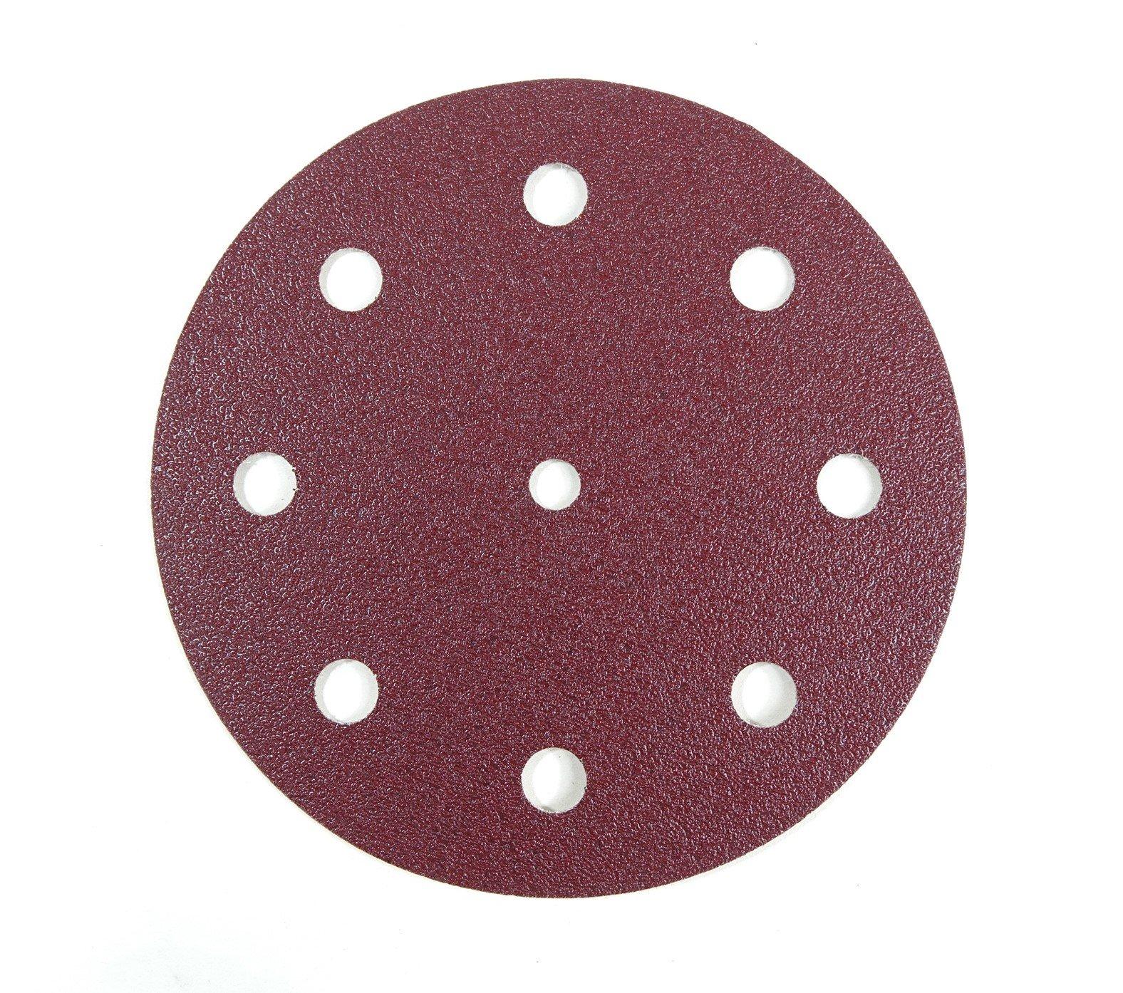 "POWERTEC 240 Grit Sanding Disc | Red | Hook and Loop 5"" Sanding Discs Abrasives for RO 125 Festool Sander – 50 Pack"