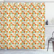 """Ambesonne Floral Shower Curtain, Charming Blossom Garden Field Spring Branches Watercolor Artwork, Cloth Fabric Bathroom Decor Set with Hooks, 70"""" Long, Vermilion Yellow"""