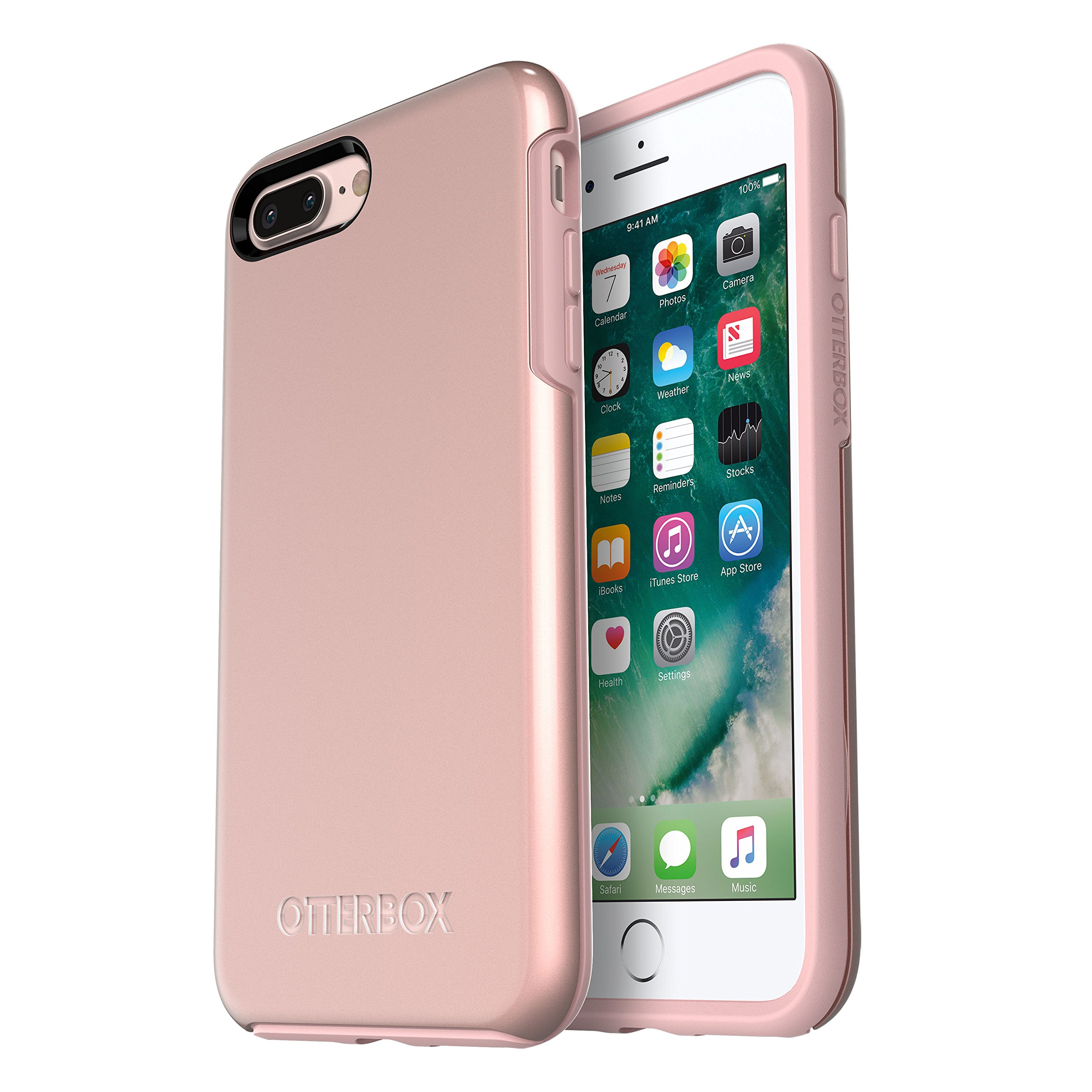 Otterbox Symmetry Series Case for  Iphone 8 Plus & Iphone 7 Plus  - Retail Packaging - Rose Gold (Pale Pink/Rose Gold Graphic)