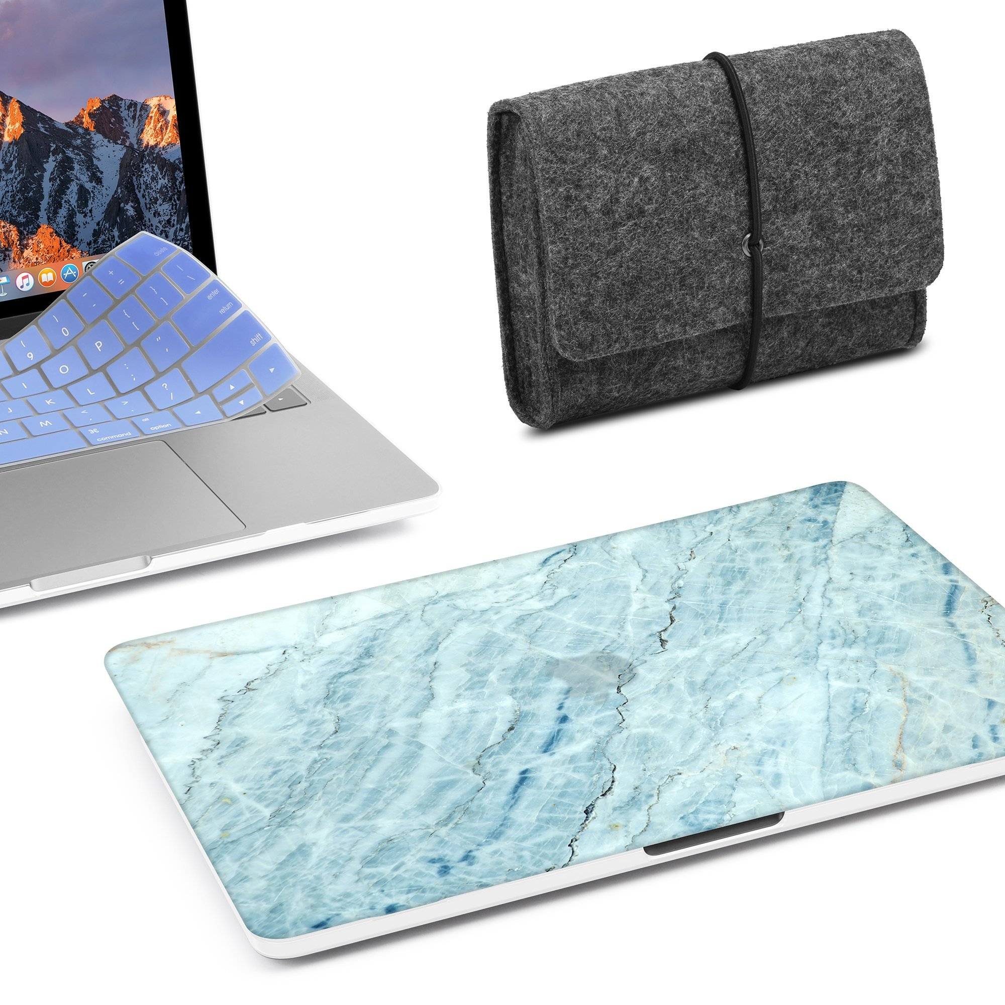 GMYLE MacBook Pro 13 inch Case 2018 2017 2016 Release A1989/A1706/A1708, Plastic Hard Shell, Fabric Storage Bag Travel Pouch, Keyboard Cover Compatible Newest Mac Pro 13 Inch – Blue Ice Marble Stone