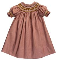 Rosalina Little Girl's Dk. Brown Gingham Smocked Heart & Flower Bishop Dress